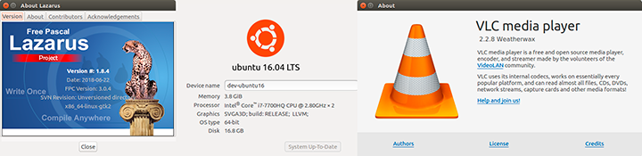 Software used to compile and test demo on Ubuntu 16.04.04 LTS: Lazarus 1.8.4 + FPC 3.0.4 + VideoLAN 2.2.8 + PasLibVlc 3.0.3